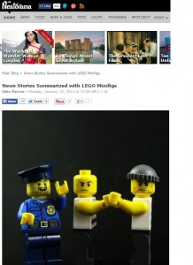 News stories summarised with Lego minifigs