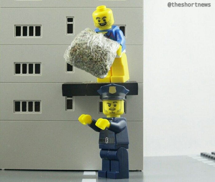 A French drug dealer heard police approaching, so he threw bags of cannabis off his balcony, but they landed straight into the hands of police below.